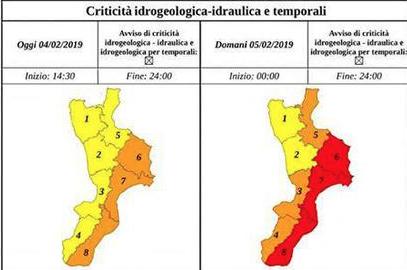 Maltempo, domani allerta rossa su fascia Jonica della Calabria