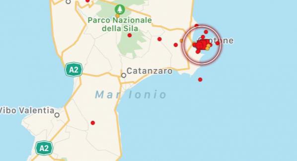 Due scosse di terremoto in Calabria con epicentro a Crotone