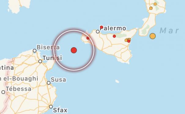 Terremoto di magnitudo 3.5 nel Canale di Sicilia