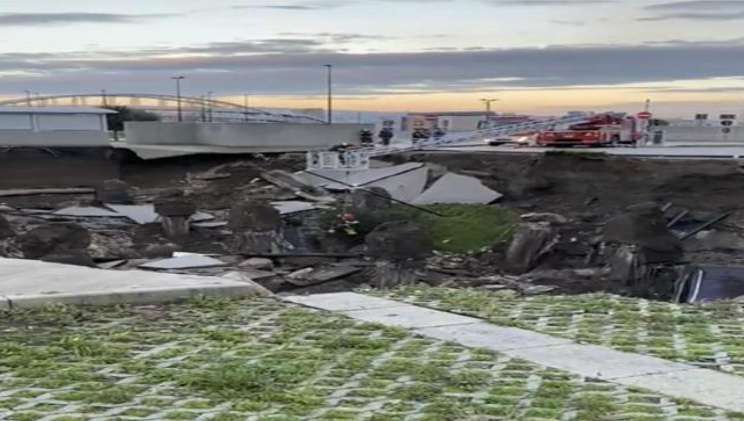 Boato precede l'apertura di una voragine nel parcheggio dell'ospedale del Mare di Napoli