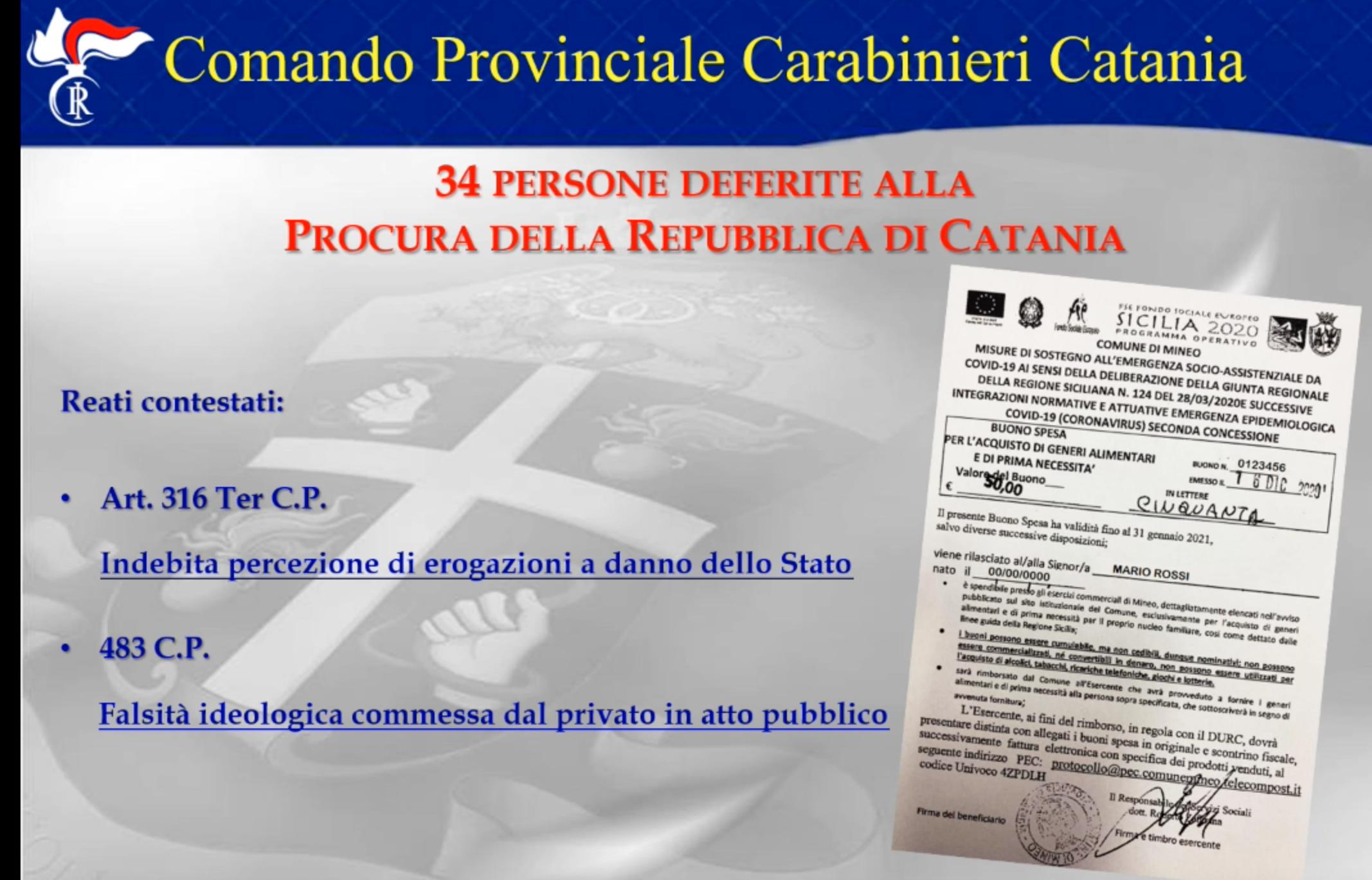 Truffe tra Reddito e buoni spesa, 34 denunciati nel Catanese