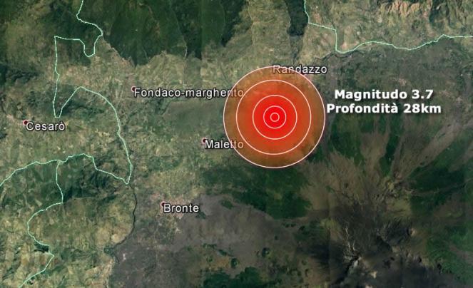 Scossa di terremoto 3.7 in provincia di Catania tra Maletto e Randazzo