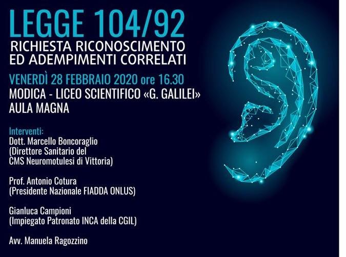 Modica, venerdì 28 al Liceo Scientifico convegno della Fiadda su legge 104