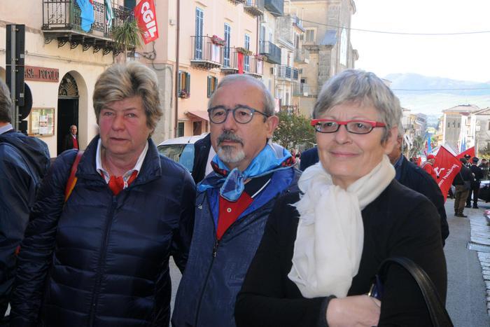 L' 1 Maggio,  i segretari di Cgil, Cisl e Uil a Portella della Ginestra