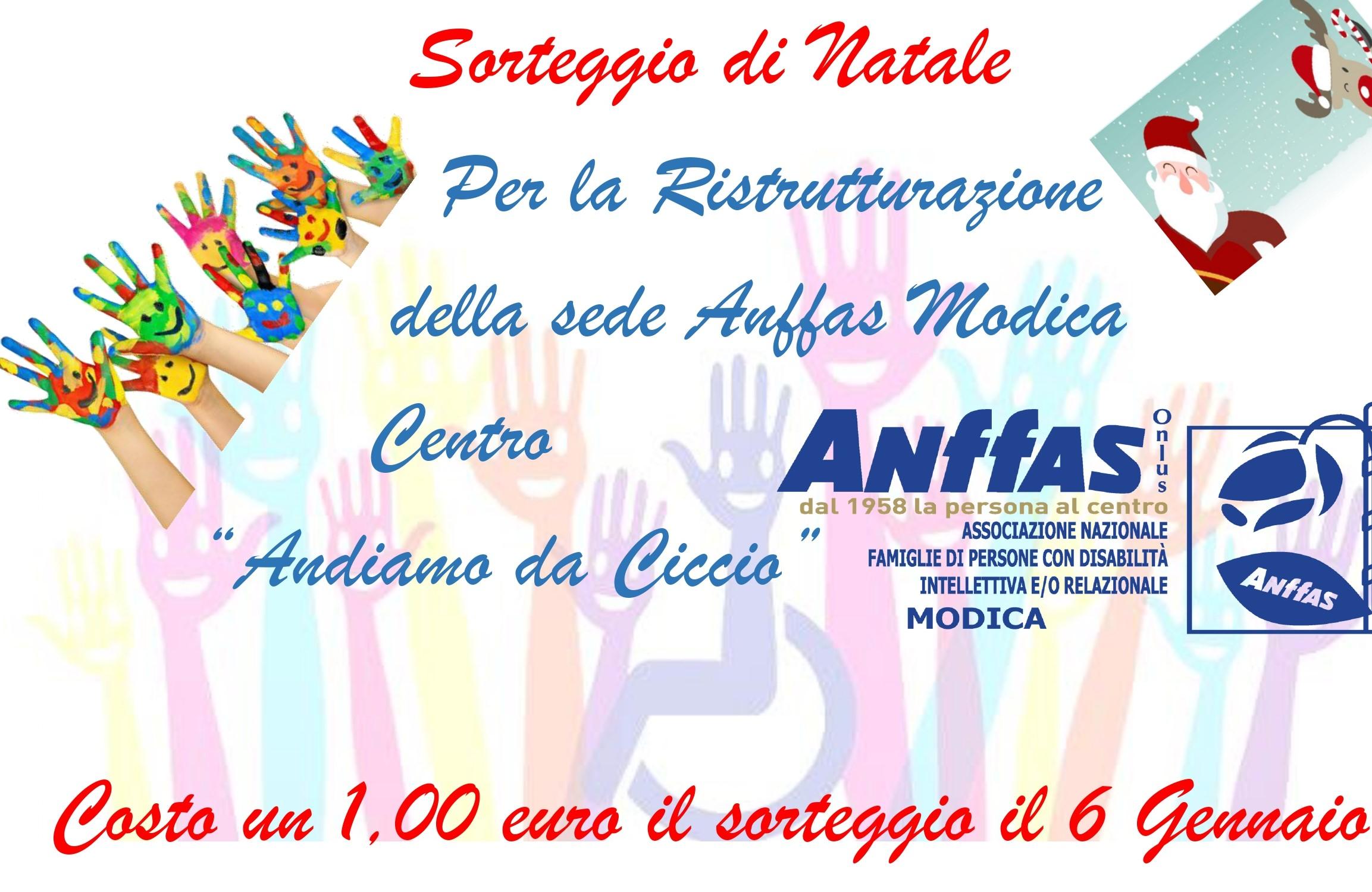 Modica, sorteggio solidale il 6 gennaio per sostenere l'Anffas e i suoi progetti
