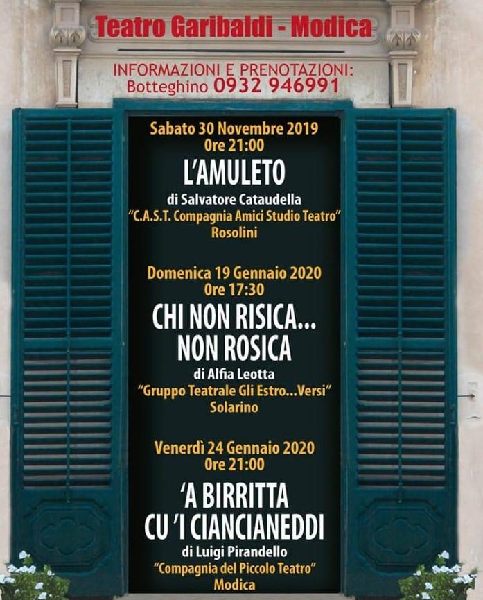 """Modica, al Teatro Garibaldi rassegna dialettale: sabato 30 """"L'amuleto"""""""