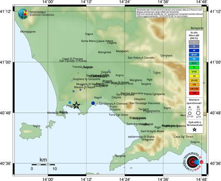 Terremoto: due scosse nell'area flegrea, avvertite a Pozzuoli e a Napoli
