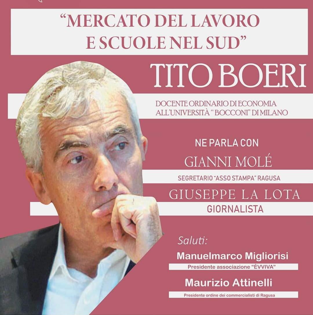 Vittoria, al Cinema Golden mercoledì 29 incontro con Tito Boeri: appuntamento alle 17,30