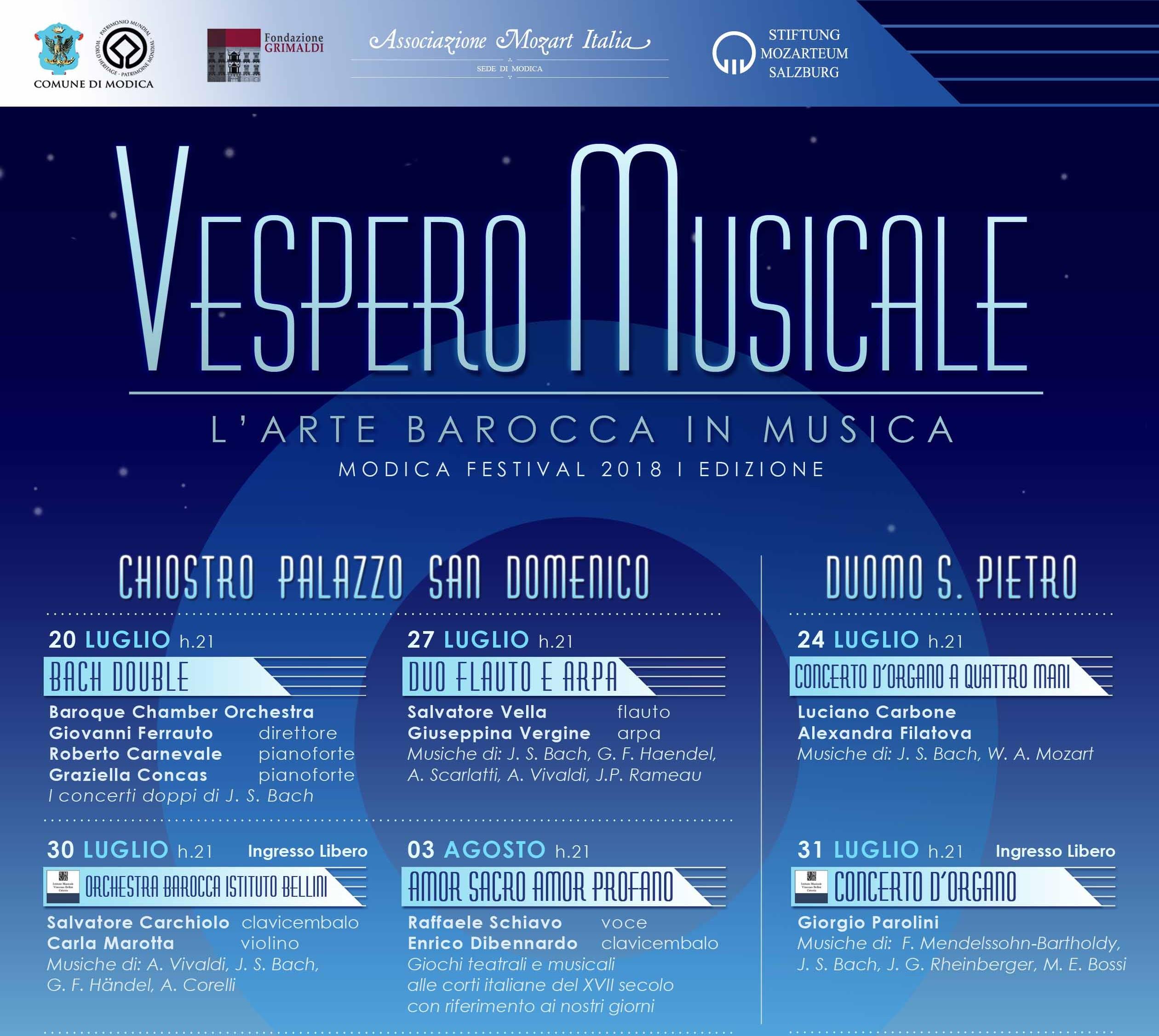 Modica, vespero musicale: festival dell'arte barocca fino al 25 agosto