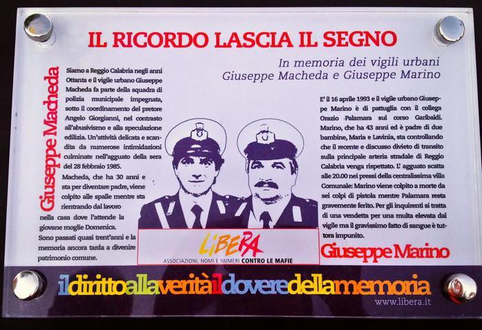 Reggio Calabria, divelta targa dei vigili urbani uccisi dalla 'ndrangheta