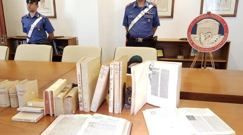 Tutela patrimonio culturale, recuperati a Messina 342 volumi antichi