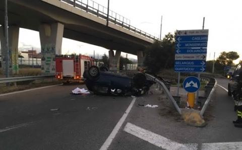 Auto si ribalta a Cagliari, 3 morti e 2 feriti gravi